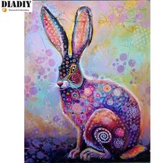 What a colorful rabbit painting! Jack Rabbit, Rabbit Art, Hare Illustration, Bunny Art, Bunny Bunny, Colorful Animals, Whimsical Art, Animal Paintings, Collage Art