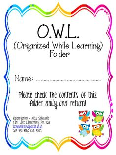 student folder for my owl themed classroom- Nancy Trusk this has your name written all over it