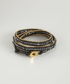 Chan Luu hematite and leather chain detail wrap bracelet | BLUEFLY up to 70% off designer brands