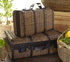 "Woven Suitcase Large: 23"" wide x 16.5"" deep x 8"" high"