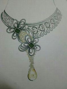 Imt New Jewellery Design, Jewelry Design Drawing, Photo Jewelry, Jewelry Art, Diamond Necklace Set, Jewelry Illustration, Jewellery Sketches, Fantasy Jewelry, Hand Embroidery Designs