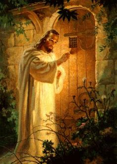 "Memories of this painting from my childhood.  He's saying, ""Behold, I stand at the door and knock."""