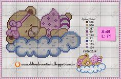 Delicado Cantinho: Gráficos Ponto Cruz Ursinhos Deitados na Nuvem
