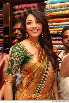 Blouse designs for silk sarees could have brocade, zari work and sequin design in different styles. Let's have a look at few Blouse Designs for Silk Sarees Sari Blouse, Silk Saree Blouse Designs, Bridal Blouse Designs, Saree Belt, Blouse Patterns, Sari Design, Blouse Back Neck Designs, South Indian Blouse Designs, Kajal Agarwal Saree