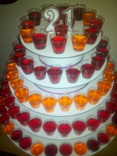 """I came up with this idea for a jello shot """"birthday cake"""" for my daughters 21st. What can I say all she wanted was a party and it inspired me :) plus she absolutely loved it!"""