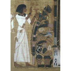 Book of the Dead Detail - Fumigation by Isis c 1300 BC Egyptian Art Musee du Louvre Paris Canvas Art - (18 x 24)