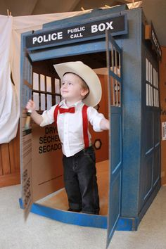 """TARDIS playhouse pattern by DesignKidsHabitat on Etsy. (That's my little guy in the photo:-) It even has a room at the back to make it """"bigger on the inside""""!"""