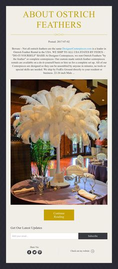 Ostrich feather centerpieces rental, Ostrich Feathers for rent for Great Gatsby Party Gatsby