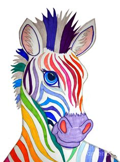 Rainbow Striped Zebra Drawing  - Rainbow Striped Zebra Fine Art Print