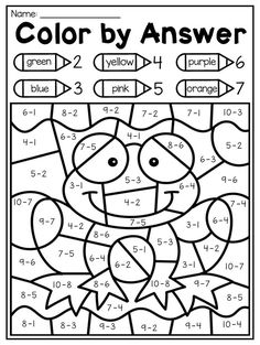 math Color by subtraction code. This Spring Kindergarten Math and Literacy Worksheet Pack features 58 NO PREP worksheets. The pack includes a number of diverse activities relating to beginning s Math Coloring Worksheets, Kindergarten Math Worksheets, In Kindergarten, Money Worksheets, Sight Word Worksheets, 1st Grade Worksheets, Number Worksheets, Math Math, Kindergarten Graduation