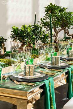 Bonsai Centrepieces, Green Wedding Inspiration, Green Wedding Table Setting, Moss Wedding Ideas   Chinese New Year Wedding Ideas   ElegantWedding.ca