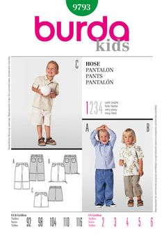 Burda 9793; boys pants and shorts; sizes 2-6