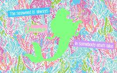 DIY Lilly Pulitzer Disney Laptop Wallpaper - Ariel Little Mermaid