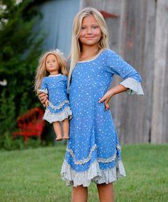 Sky Blue & Light Gray Hearts Roberta Dress & Doll Dress - Girls #zulily…