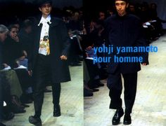 "Yohji Yamamoto Mens F/W 95.96 The theme was 鹿鳴館 (Rokumeikan; Meiji-era Western-style building in downtown Tokyo, constructed in 1883 for entertaining foreign diplomats and dignitaries). From wiki: ""In the ballroom, Japanese gentlemen in evening dress imported from tailors in London danced the waltz, polka, quadrille, and mazurka with Japanese ladies dressed in the latest Parisian fashions"". At the same time, Yohji also seemed to contrast this cultural blend against an american backdrop from…"