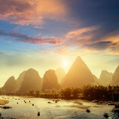 Sunset landscpae of Yangshuo in Guilin, China