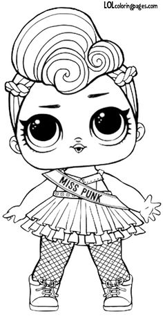 Miss Punk Series 2 LOL Surprise Doll Coloring page Cool Coloring Pages, Adult Coloring Pages, Coloring Pages For Kids, Coloring Books, Coloring Pages To Print, Coloring Sheets, Lol Dolls, Copics, Cute Drawings
