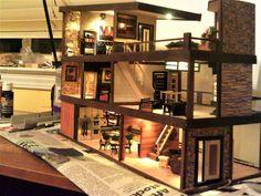 Quarter-scale dollhouse Dollhouses, Tiny Houses, Scale, Loft, Bed, Mini, Modern, Furniture, Home Decor