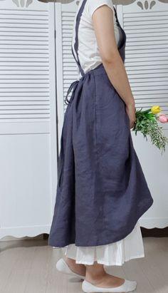 린넨,원피스형앞치마,린넨앞치마,린넨원피스 : 네이버 블로그 Mori Girl, Apron, Midi Skirt, How To Wear, How To Make, Fashion Outfits, Boho, Female, Sewing