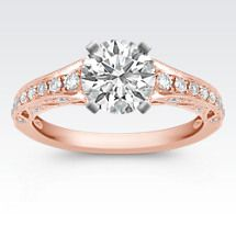 Vintage Cathedral Diamond Engagement Ring in 14k Rose Gold Image