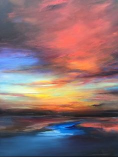 """Sun Setting"" Original Painting by Richard Reiner"