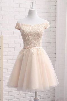 Lovely Tulle Bridesmaid Dresses, Cute Off Shoulder Simple Party Dress, Formal Dress ,homecoming dresses - Vestidos - brautjungfern kleider Tulle Bridesmaid Dress, Cheap Homecoming Dresses, Hoco Dresses, Tulle Dress, Formal Dresses, Sexy Dresses, Elegant Dresses, Grad Dresses Short, Summer Dresses