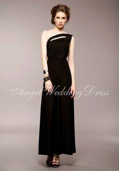 Column One Shoulder Chiffon Floor Length Sleeveless Bridesmaid  Evening Gown  Cheap Bridesmaid Dresses Online 61630b766dfa