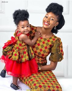 Dazzling Mother and Daughter African Ankara Styles for the weekend! If you as the mom wants to look stunning under the same print fabric with your daughter Baby African Clothes, African Dresses For Kids, African Print Dresses, African Prints, African Fashion Ankara, Latest African Fashion Dresses, African Print Fashion, Unique Dresses Short, Short Gowns