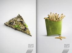 New Zealand campaign for TV show Man vs. Wild. Ad agency: DraftFCB Auckland. Art Director: Kelly Lovelock. | When Art Directors Nail It (18 Ads)