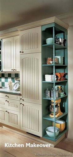 17 Awesome Pantry Shelving Ideas to Make Your Pantry More Organized Pantries are useful, but can quickly become messy and unorganized. Explore simple corner pantry shelving ideas to spice up your kitchen storage and get things in order. Kitchen Pantry Doors, Two Tone Kitchen Cabinets, Kitchen Cabinet Design, Painting Kitchen Cabinets, Kitchen Shelves, Kitchen Storage, Storage Cabinets, Pantry Cabinets, Inside Cabinets