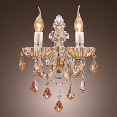 Elegant Crystal Wall Light with 2 Lights – GBP £ 83.51