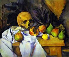 STILL LIFE WITH SKULL BY PAUL CEZANNE- FAMOUS ART - HANDMADE OIL PAINTING ON CANVAS