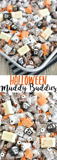 Halloween Muddy Buddies Recipe This Halloween Chex Mix Muddy Buddies (aka Puppy Chow) recipe is chock-full of October delight a little salty a[] The post Halloween Muddy Buddies Recipe appeared first on Halloween Desserts. Looks Halloween, Halloween Goodies, Halloween Food For Party, Halloween Cupcakes, Easy Halloween Snacks, Halloween Decorations, Halloween Puppy, Halloween Sweets, Halloween 2018