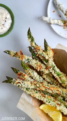 Baked Asparagus Fries with Roasted Garlic Aioli recipe via justataste.com