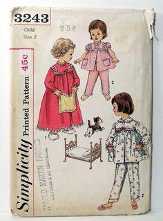 Vintage Simplicity 3243 Girls' Pajamas Nightgown Sz 2 Pattern Uncut FF #SimplicityTransferPattern
