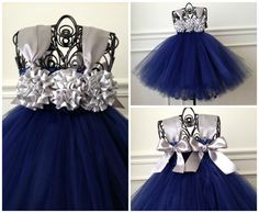 Our Navy Tutu Dress is so beautiful! Made with navy tulle, navy and gray satin flowers across the bodice, and gray satin straps that tie in