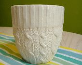 reshapestudio    Cable knit ceramic tall cup - Ivory Glazed edge. $33.00, via Etsy.