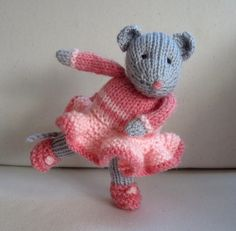 DARCY the Dancing Mouse  - knitted toy doll - PDF email knitting pattern. $3.95, via Etsy.