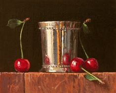 "Daily Paintworks - ""Silver Cup with Sweet Cherries"" - Original Fine Art for Sale - © Abbey Ryan"