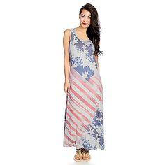 721-938 - One World Knit Sleeveless Vintage-Style American Flag Maxi Dress