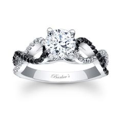 Ladies Black and White Diamond Engagement Ring with Infinity Band!