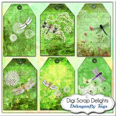 Digital Collage Sheet Dragonflies & by DigiScrapDelights on Etsy, Green