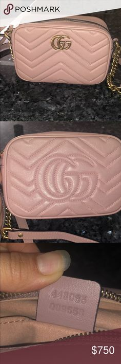 Gucci Small Mermont Pink Bought for few months. Dark stains on the back due  to 772b5065b6fc4