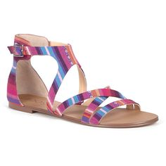 Sole Society Simona Gladiator Sandal featuring polyvore, fashion, shoes, sandals, fuchsia, strappy platform sandals, flat shoes, strappy sandals, greek sandals and roman sandals