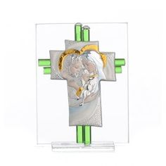 Bonbonniere Wedding Holy Family aquamarine Murano glass 10,5cm | online sales on…
