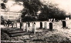 Burial ground, Quaker Bottom, high Flatts. Circa 1910. Friends Meeting House in background.