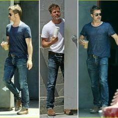 Brad Pitt Style, Fight Club Brad Pitt, Steve Mcqueen Style, Sexy Coffee, Brad Pitt And Angelina Jolie, Moda Casual, Christian Grey, Leonardo Dicaprio, Gorgeous Men