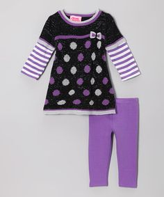 Styled with purple polka dots and stripes, this trendy twosome is an easy-peasy treat for little ones. The layered top features cozy fabric and a bitty bow accent, while the classic leggings are sublimely simple to sport.