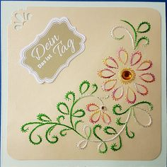 """Fadengrafik Grußkarte 109 Blumen 35 mit Sticker """"Das ist dein Tag""""  Fadengrafik - GrußKarten - Set mit dem abgebildeten Fadengrafik-Motiv  bestehend aus: 1 Doppelkarte / Klappkarte im Format..."""