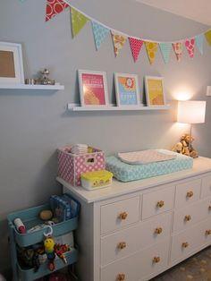Lila's Nursery - Ikea Dresser/Changing Table, Ikea Cart, Ikea Shelves, Etsy Prints and Bunting